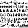 クリスマスに関連のあるベクトルシルエット素材166個入り
