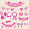 バレンタイン用装飾。ピンクのハートイラスト