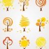 抽象的な秋の木々。無料ベクタークリップアート素材