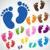 キュートな赤ちゃんの足跡。フリーベクターシルエット素材