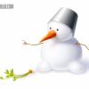 ふんわりかわいい雪だるまの無料ベクターイラスト素材