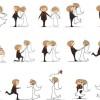 15のシーンを描いた結婚式の無料ベクタークリップアート素材