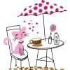 ネコちゃんのティータイム。オープンカフェのクリップアート素材