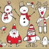 かわいいサンタ・雪だるま・トナカイの無料クリップアート素材