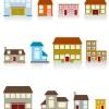いろいろな家がマンガチックに描かれた無料ベクターイラスト素材01