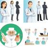 4種類のキャラクターで表現された医者(ドクター)のベクタークリップアート素材