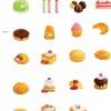 おいしそうなケーキ&クッキーのベクタークリップアート素材