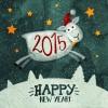 ヴィンテージな羊の年賀状イラスト素材(2015年版)