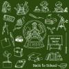 黒板素材と合わせて使いたい学校に関連した無料ベクター手書きクリップアート素材