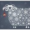 雪の結晶で描かれた羊の無料イラスト素材
