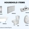 家の水回りアイテムを高品位に描いた無料のベクターイラスト素材