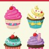 カラフルでかわいい4種類のカップケーキ。無料ベクターイラスト素材