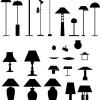 フロア・スタンド・スポット・シーリングなどランプの無料ベクターシルエット素材