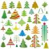 36種類のかわいいクリスマスツリー無料ベクタークリップアート素材