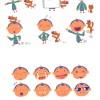 子供とワンちゃんの日常を描いた無料ベクタークリップアート素材