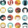 オフィスやビジネスにまつわる、丸いアイコンのセット(92種類)