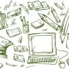 手書きスケッチ風!学校やオフィスに関連のあるクリップアート素材。