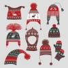 ヴィンテージな冬の帽子と手袋のセット。無料ベクターイラスト素材