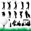 スイングやカートなどゴルフに関連のある無料ベクターシルエット素材