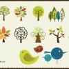 小鳥と木のかわいいイラスト素材(AI)