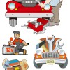 自動車整備・修理に関連のある無料ベクターイラスト素材。(メカニック・整備士)