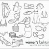 手書きが可愛い女子のファッションに関するガーリーな無料ベクタークリップアート素材