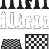 チェスボード、チェスの駒のイラスト素材