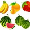 4種類のフレッシュフルーツ(バナナ・オレンジ・イチゴ・スイカ)無料ベクタークリップアート