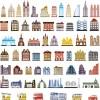 ビルディングと乗物のベクタークリップアート素材