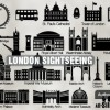ロンドン人気の観光スポットを描いたシルエット素材