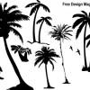 夏デザイン!無料のパームツリー(椰子の木)シルエット素材