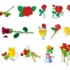 19種類・バラの花の無料ベクタークリップアート素材