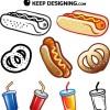 ホットドッグやプレッツェル&ドリンクのファストフードベクタークリップアート素材