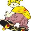 スケボーで遊ぶファンキーな少年。無料ベクタークリップアート素材