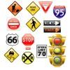 アメリカの交通標識と信号機。無料ベクターイラスト素材