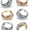ゴージャスな指輪(プラチナ・ゴールド)フリーベクタークリップアート素材