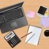 オフィスアイテム(ノートPC・電卓・ノート・ペン・写真・メモ)の無料ベクターイラスト素材