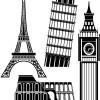 世界の有名な建造物のベクターシルエット素材