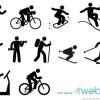 無料・10種類のスポーツ競技シンプルベクターアイコン