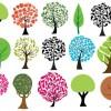 15個の抽象的な木の無料ベクタークリップアート素材