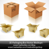 6種類のダンボール箱の無料ベクタークリップアート素材