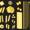 スパゲッティやマカロニなどユニークな形のパスタ素材。無料ベクタークリップアート