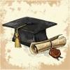 アンティークな卒業証書と帽子の無料ベクタークリップアート素材