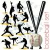 12パターンのベースボール無料ベクターシルエット素材集