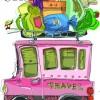 手書きで可愛い荷物をいっぱい積んだ旅行中の車 無料ベクターイラスト素材