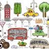 町並みや自動車を描いたユニークな無料ベクタークリップアート素材