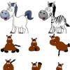無料ベクターイラスト素材。13種類のキュートな子馬(干支・午)
