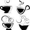 無料ベクターシルエット素材。ラフなタッチのコーヒーカップ4個
