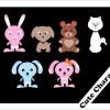 とってもキュートな6種類のアニマルキャラクター。無料ベクタークリップアート素材