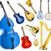 無料ベクタークリップアート。アコースティックな弦楽器(チェロ・バイオリン・マンドリン・ハープなど)